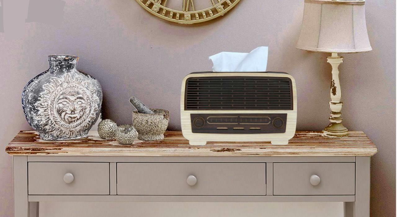 خرید پستی  جا دستمال کاغذی چوبی طرح رادیو