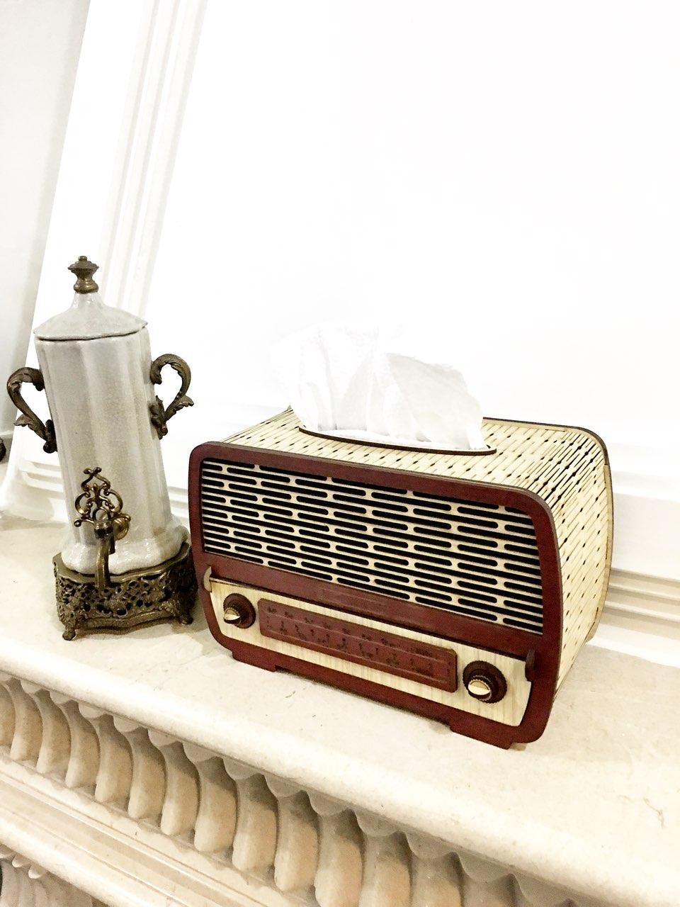 خرید جا دستمال کاغذی فانتزی شیک چوبی رادیو