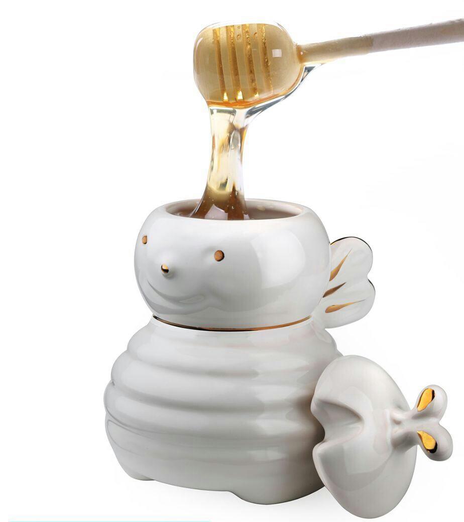 خرید پستی  ظرف عسل خوری سرامیکی طرح زنبور