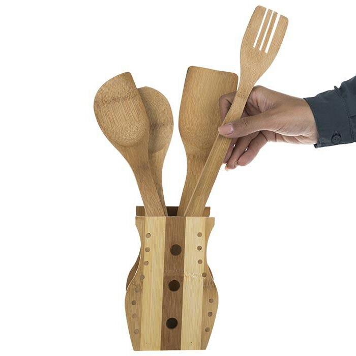 خرید پستی  ست 5 پارچه قاشق های چوبی آشپزی