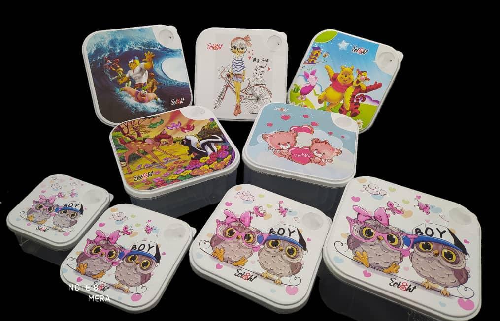 خرید پستی  ظروف نگهداری غذای کارتونی 4 پارچه سوپاپ دار