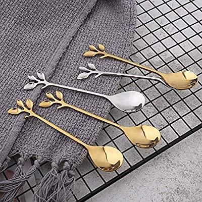 خرید قاشق های دسر خوری طرح برگ فولاد ضد زنگ