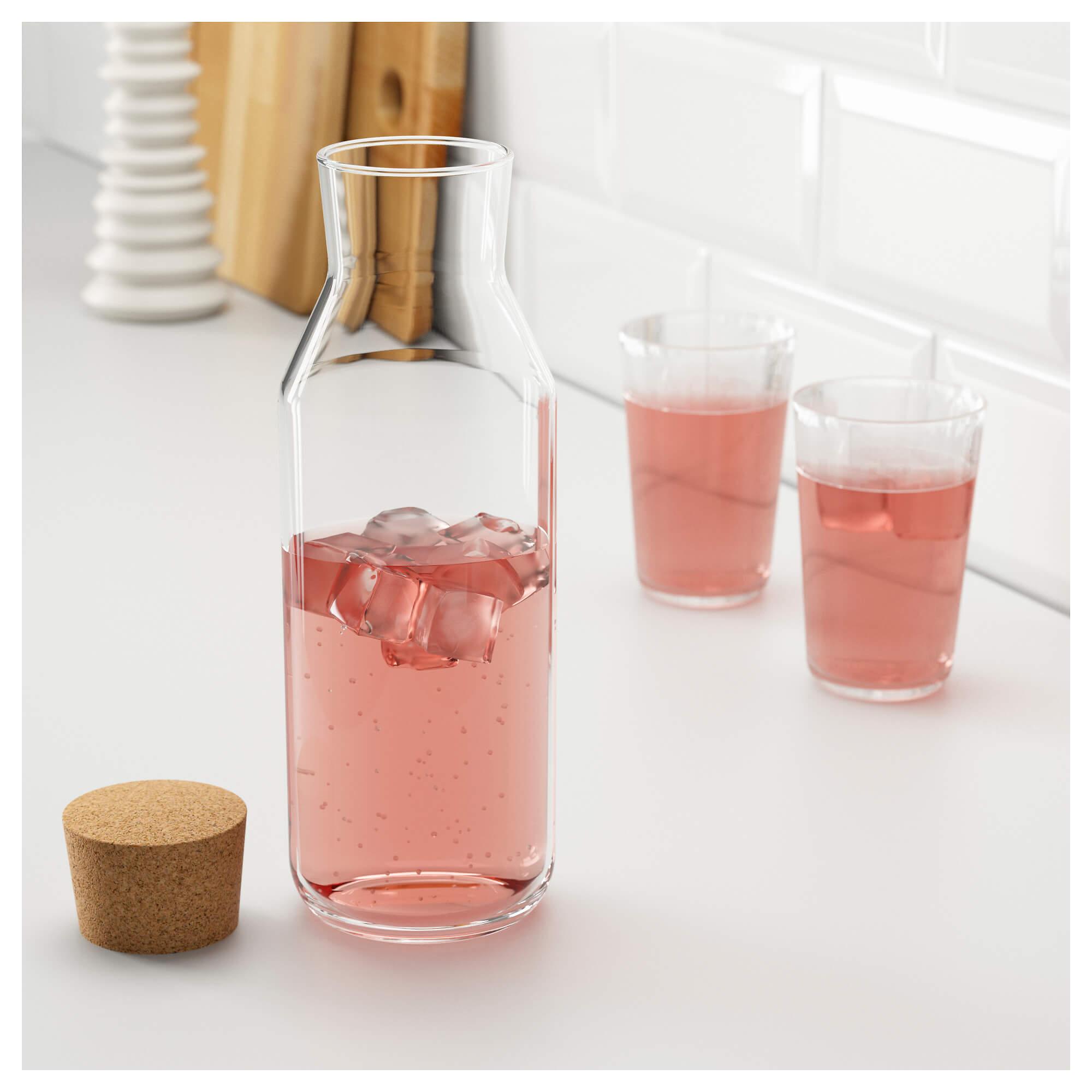 بطری شیشه ای استوانه ای طرح ایکیا درب چوب پنبه ای