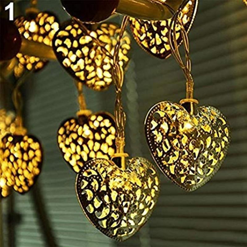 خرید ریسه ی قلب فلزی عاشقانه فانتزی 5 متری 2020